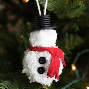 homemade christmas ornaments pom pom diy snowman ornament