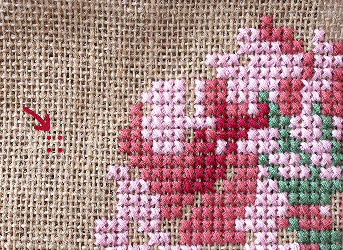 How to cross stitch on burlap.