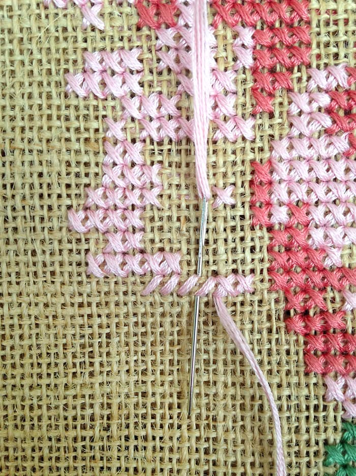 Cross stitch rose on tote bag