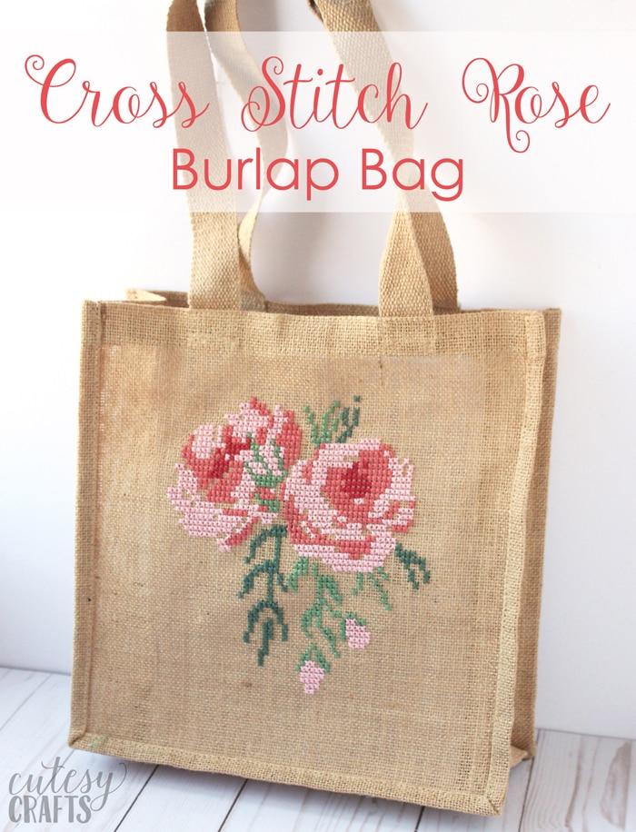 Cross Stitch Rose Burlap Bag Tutorial