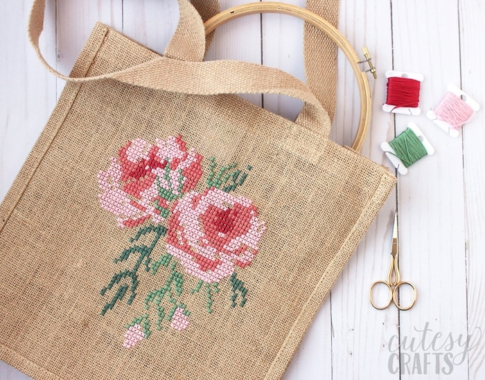 Cross Stitch Rose Burlap Bag