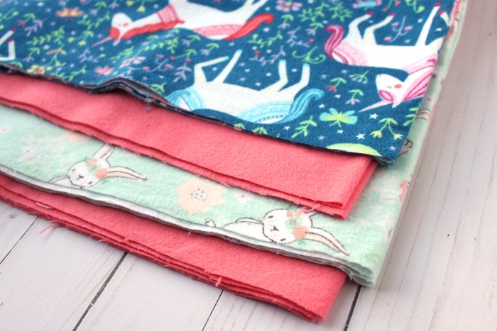 rabbit and unicorn flannel fabric