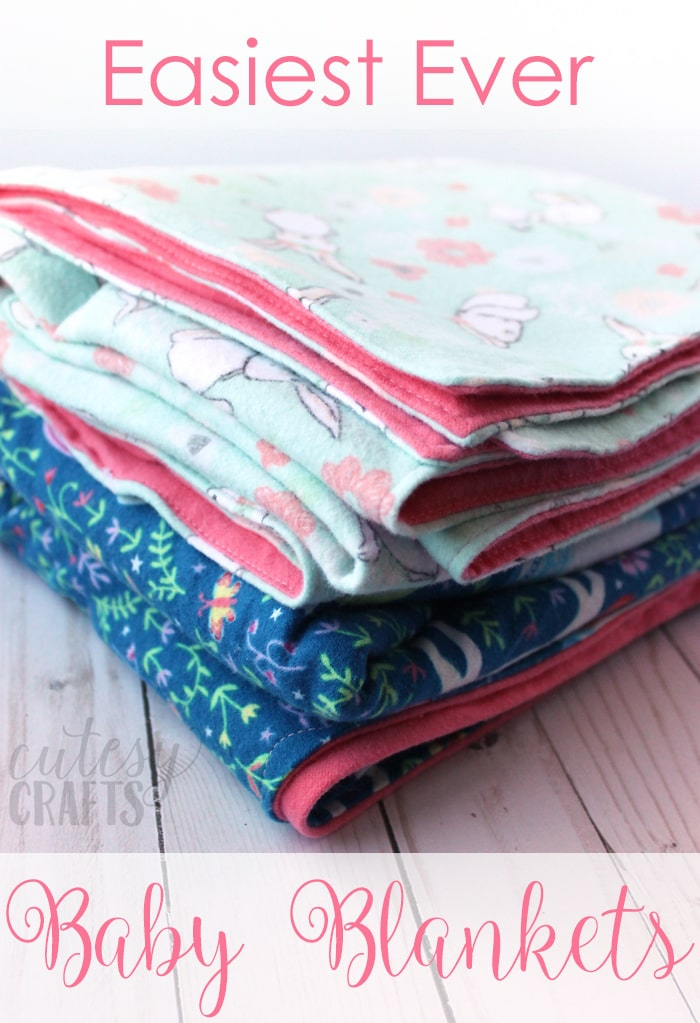 How to make a blanket for a baby out of flannel. Great beginner sewing project and easiest way to make a baby blanket!