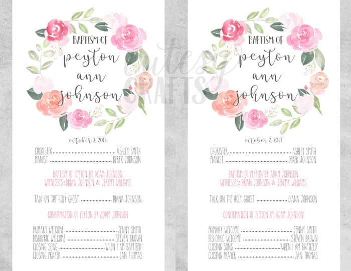 free lds baptism program template cutesy crafts