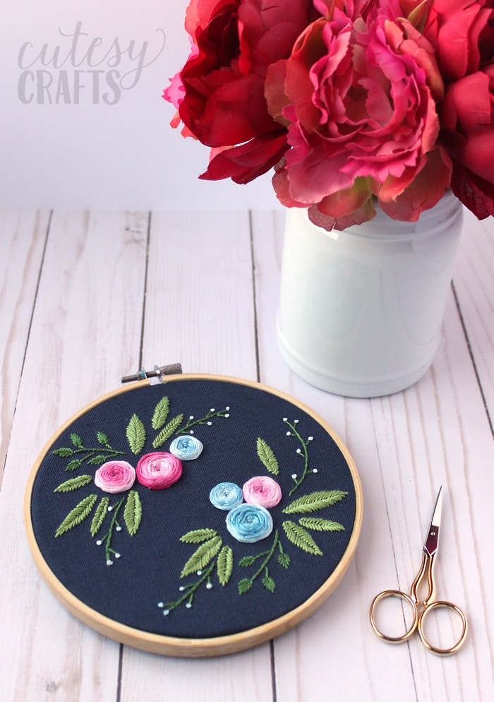 Blue Floral Embroidery Pattern
