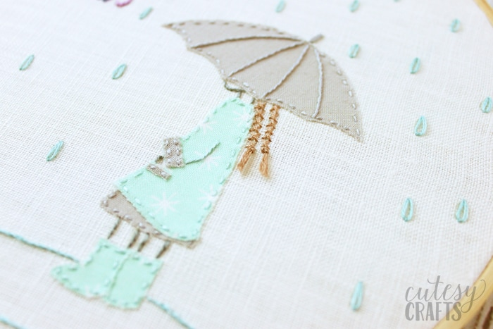 girl with umbrella free hand embroidery pattern