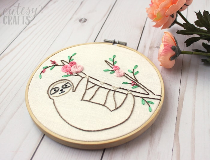 Beginner Embroidery Pattern Sloth