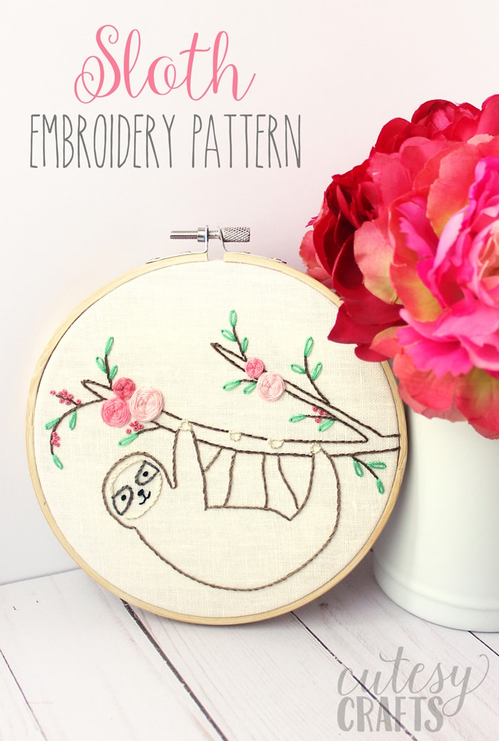 Sloth Easy Embroidery Pattern