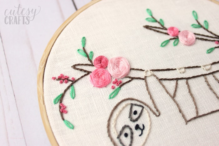 Easy Sloth Embroidery Pattern