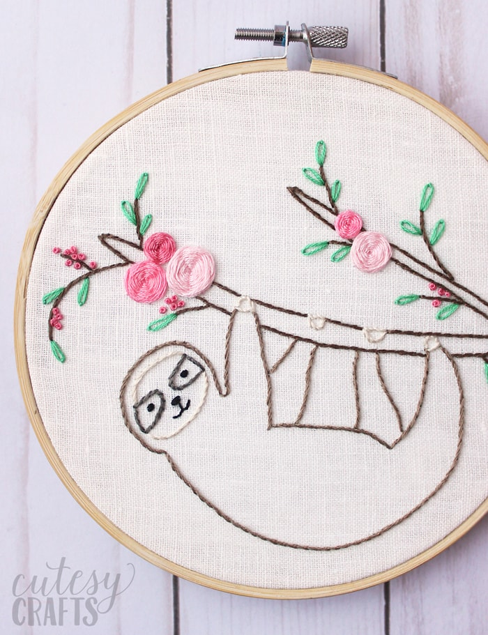 Sloth Embroidery Pattern