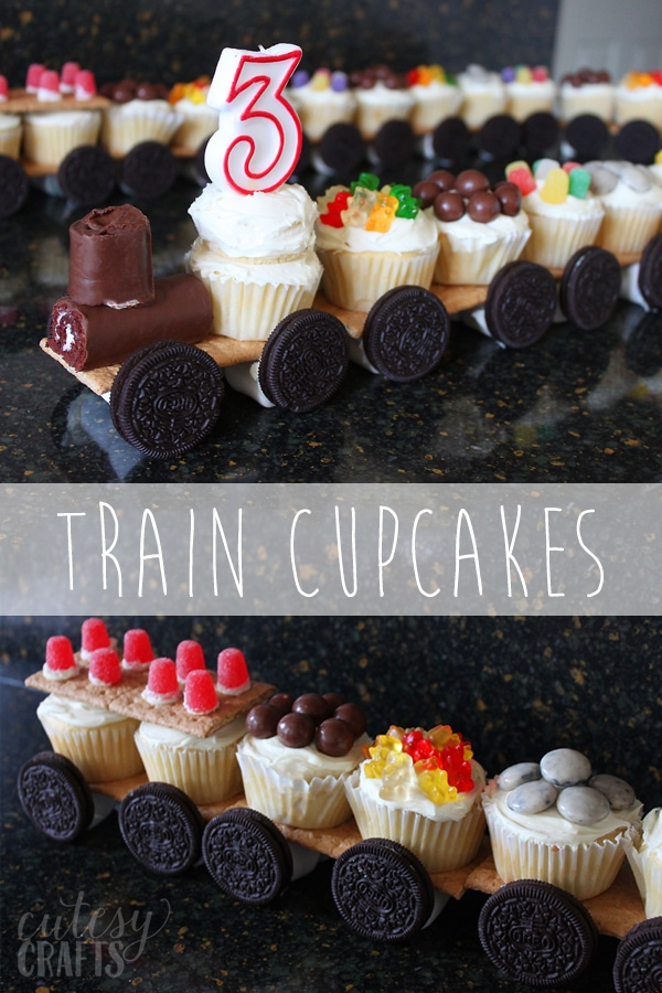 Train Cupcakes - Make a cupcake train for your train birthday party!