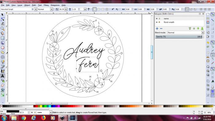 Use Inkscape to change the words on an embroidery pattern.