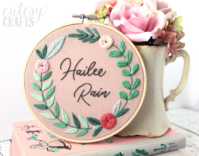 Name Embroidery Hoop - Beautiful DIY baby gift. Free pattern!