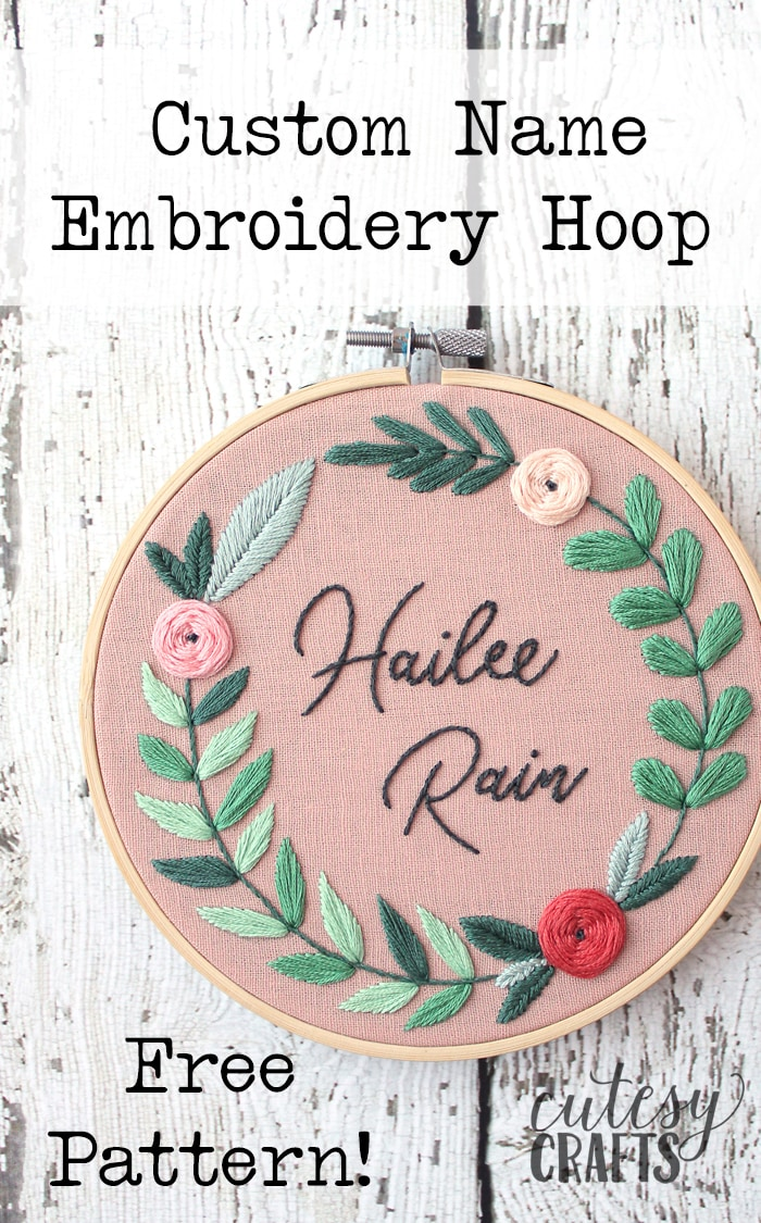Name Embroidery Hoop - Free floral embroidery pattern!