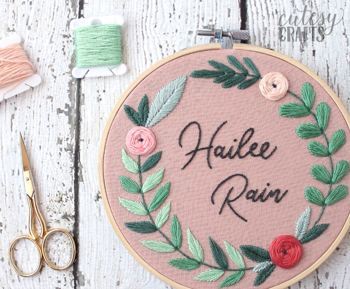 Name Embroidery Hoop - Free hand embroidery pattern!