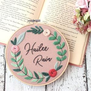 Floral Name Embroidery Hoop Pattern