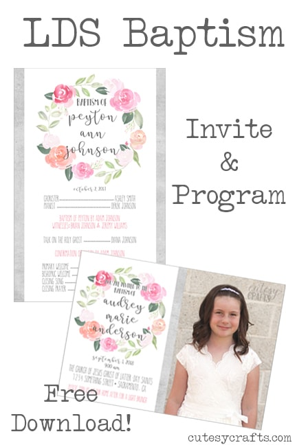 Free LDS Baptism Program and Invitation Printables