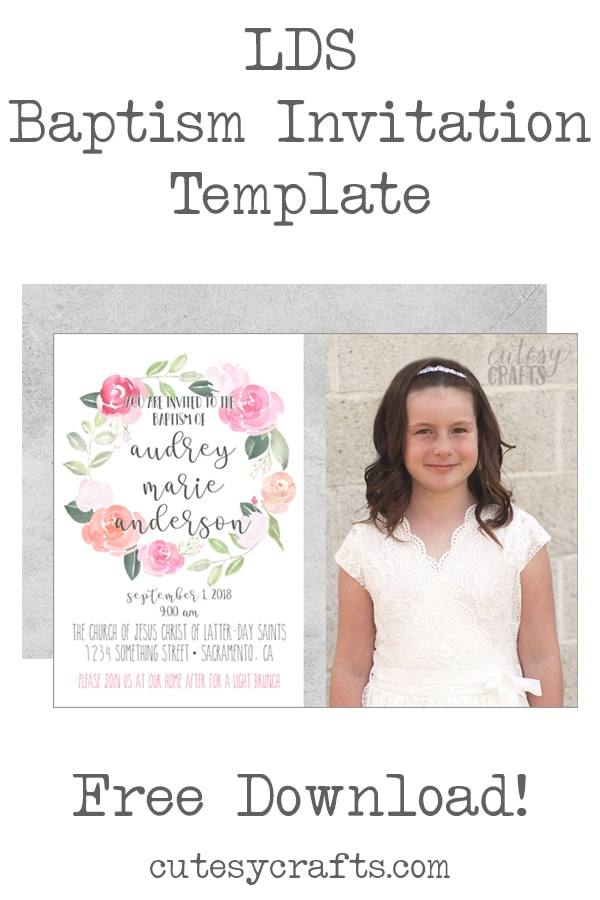 Free LDS Baptism Invitation Template - Cutesy Crafts