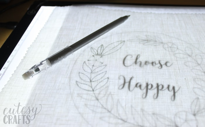 transfer an embroidery pattern with Frixion pens