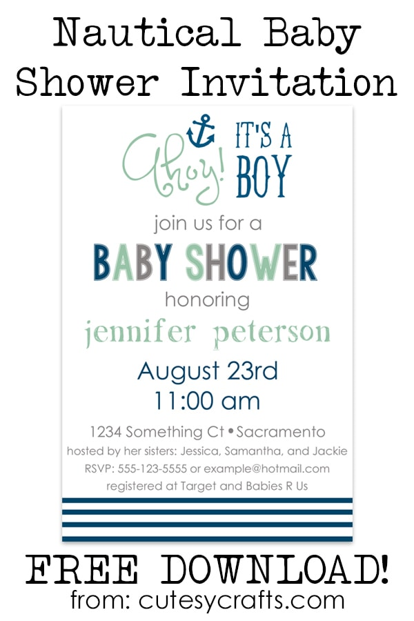 Free Nautical Baby Shower Invitations - Cutesy Crafts