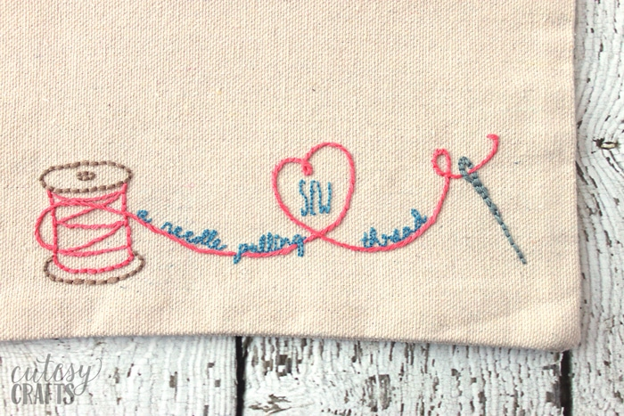 Spool of thread embroidery pattern.