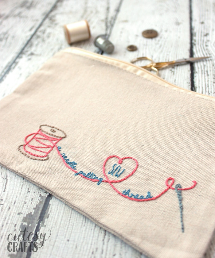 Embroidered Sewing Pouch with Free Pattern