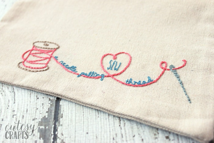 Embroidered Sewing Pouch with Free Embroidery Pattern