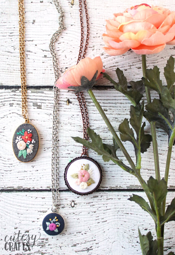 Embroidered Pendant Frames