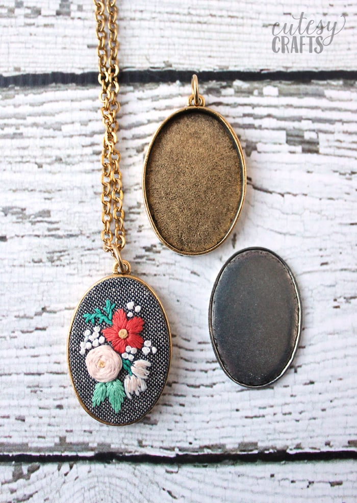 Embroidery Pendants - How to put embroidery in a necklace.