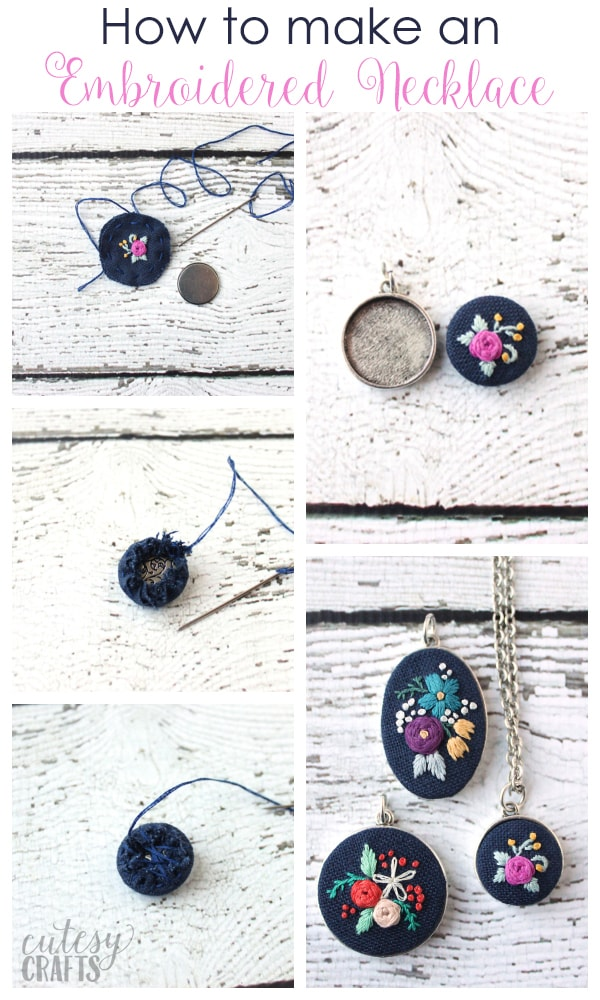 Embroidery Pendants – How to put embroidery in a necklace.