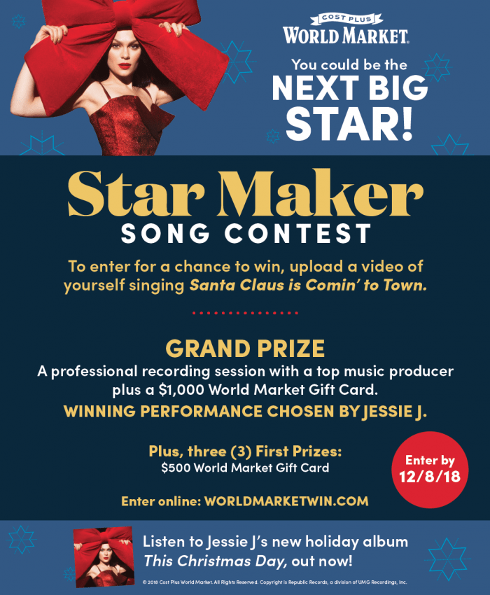 Enter the Star Maker Song Contest at Cost Plus World Market!