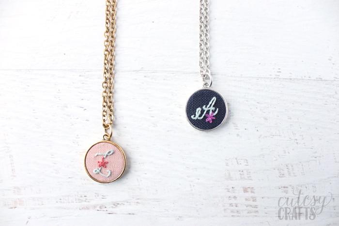 Embroidered Initial Necklace Tutorial