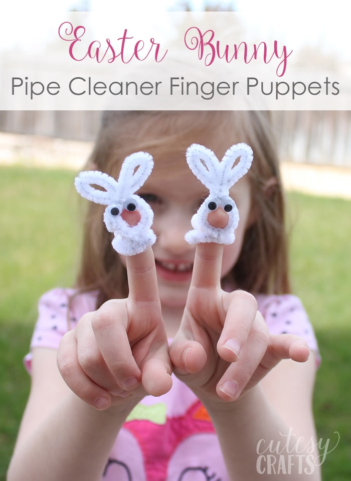 Easter Craft For Kids Bunny Pipe Cleaner Finger Puppet Cutesy Crafts