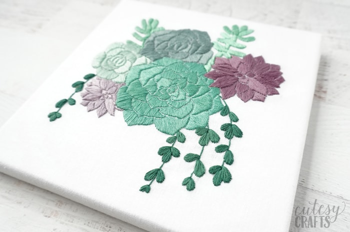 Succulent Embroidery on Canvas - Free pattern!