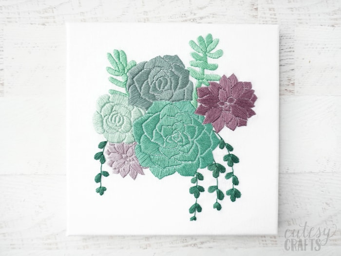 Succulent Embroidery on Canvas