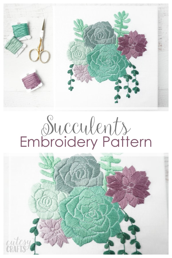 Succulent Embroidery on Canvas - Free embroidery pattern!