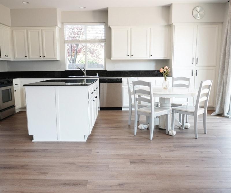 Provenza Vinyl Flooring Review in White Kitchen