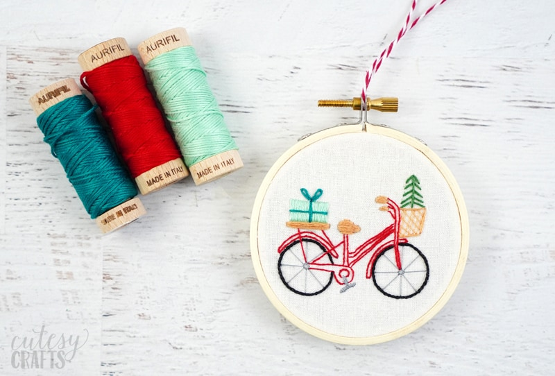 Christmas Bike Embroidery Pattern