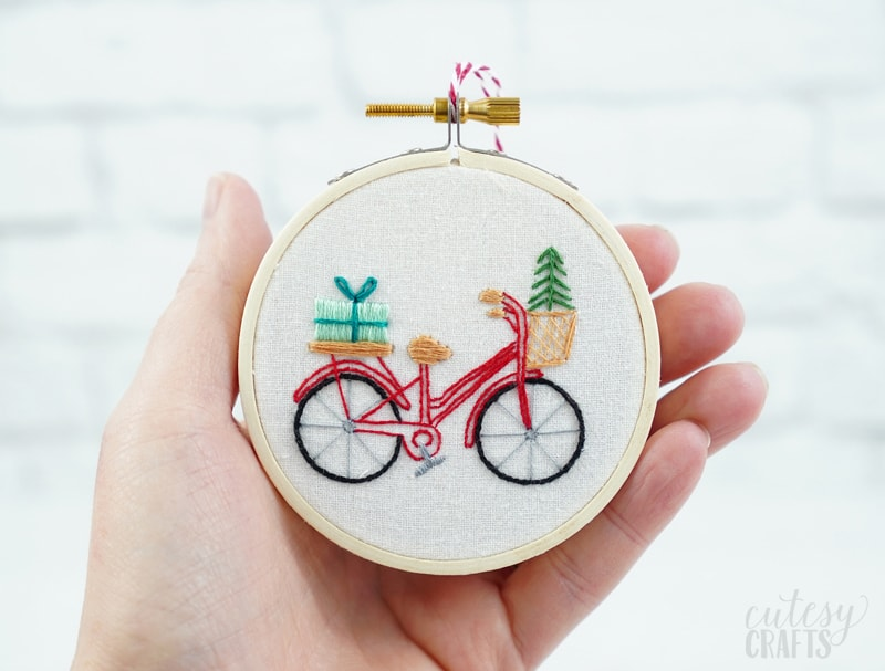 Free Christmas Embroidery Pattern - Bicycle Ornament