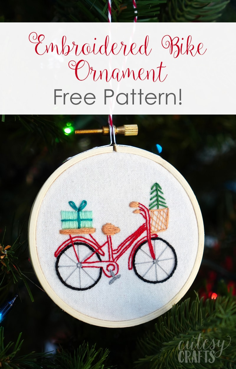 Bike Embroidered Christmas Ornament with Free Pattern