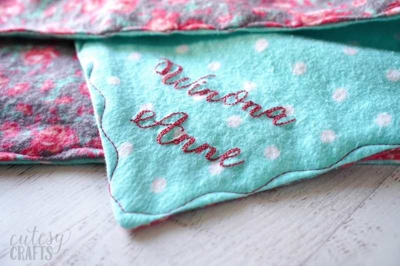 Hand Embroider Letters Blanket