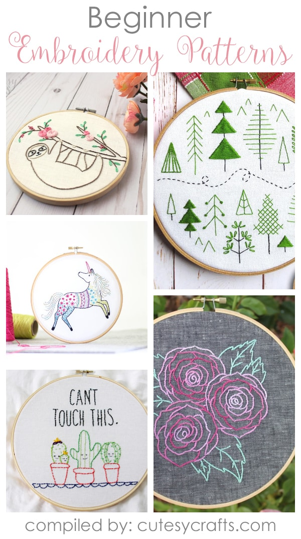 20 Beginner Embroidery Patterns Cutesy Crafts