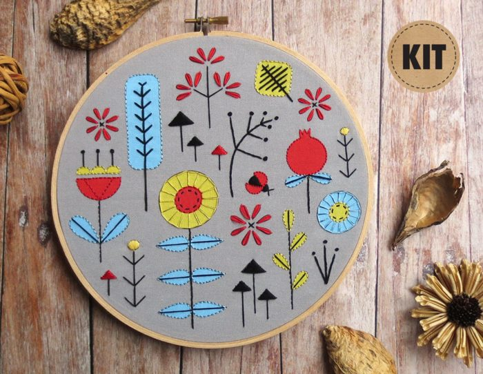 printed embroidery kit
