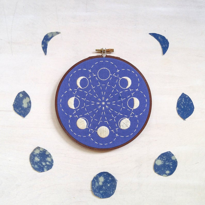 moon phase embroidery kit