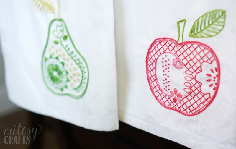 pear and apple embroidery
