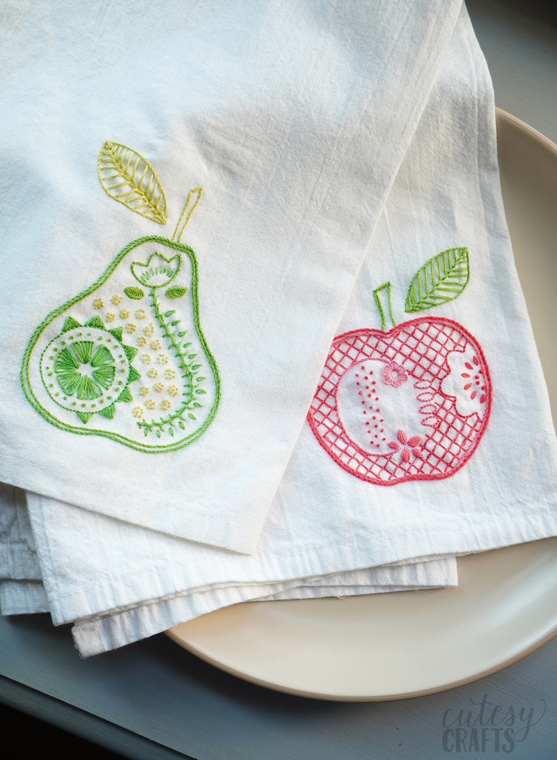 How to Embroider Tea Towels