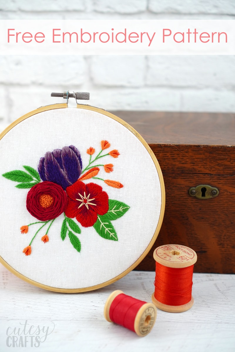 Red Flowers Embroidery Design - Free Download!