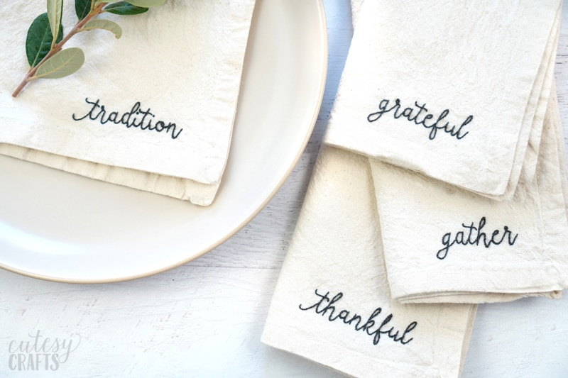 how to embroider on napkins