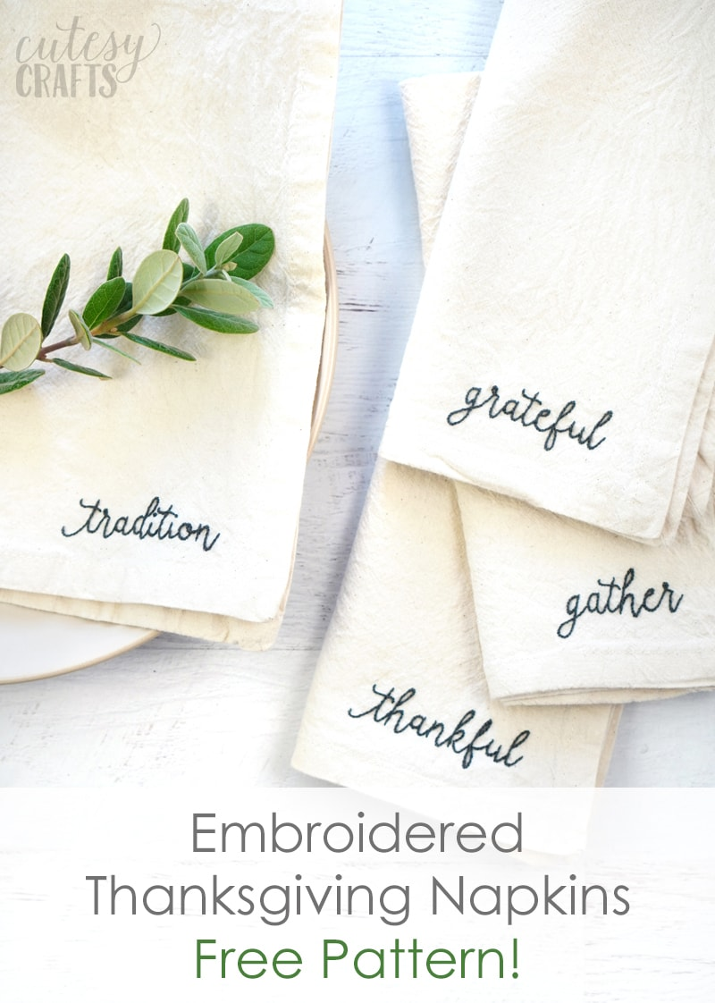 How to Embroider Words on Thanksgiving Napkins