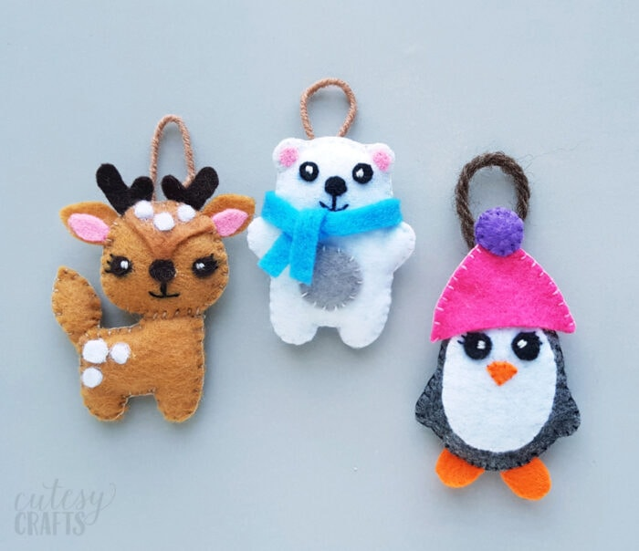 Felt Animal Christmas Ornaments with Free Patterns